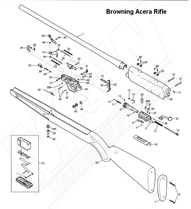 Brown Part Browning Acera Rifle Parts