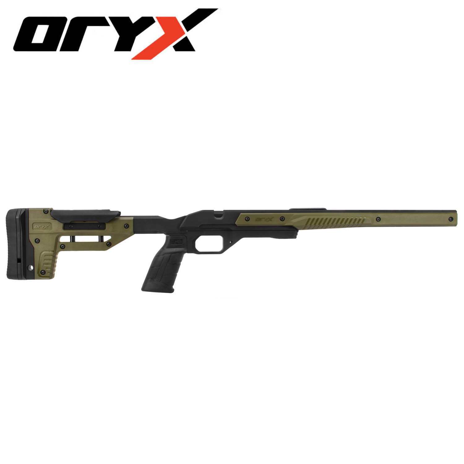 Oryx Rifle Chassis, Ruger American Short Action, Black / OD Green: Midwest  Gun Works