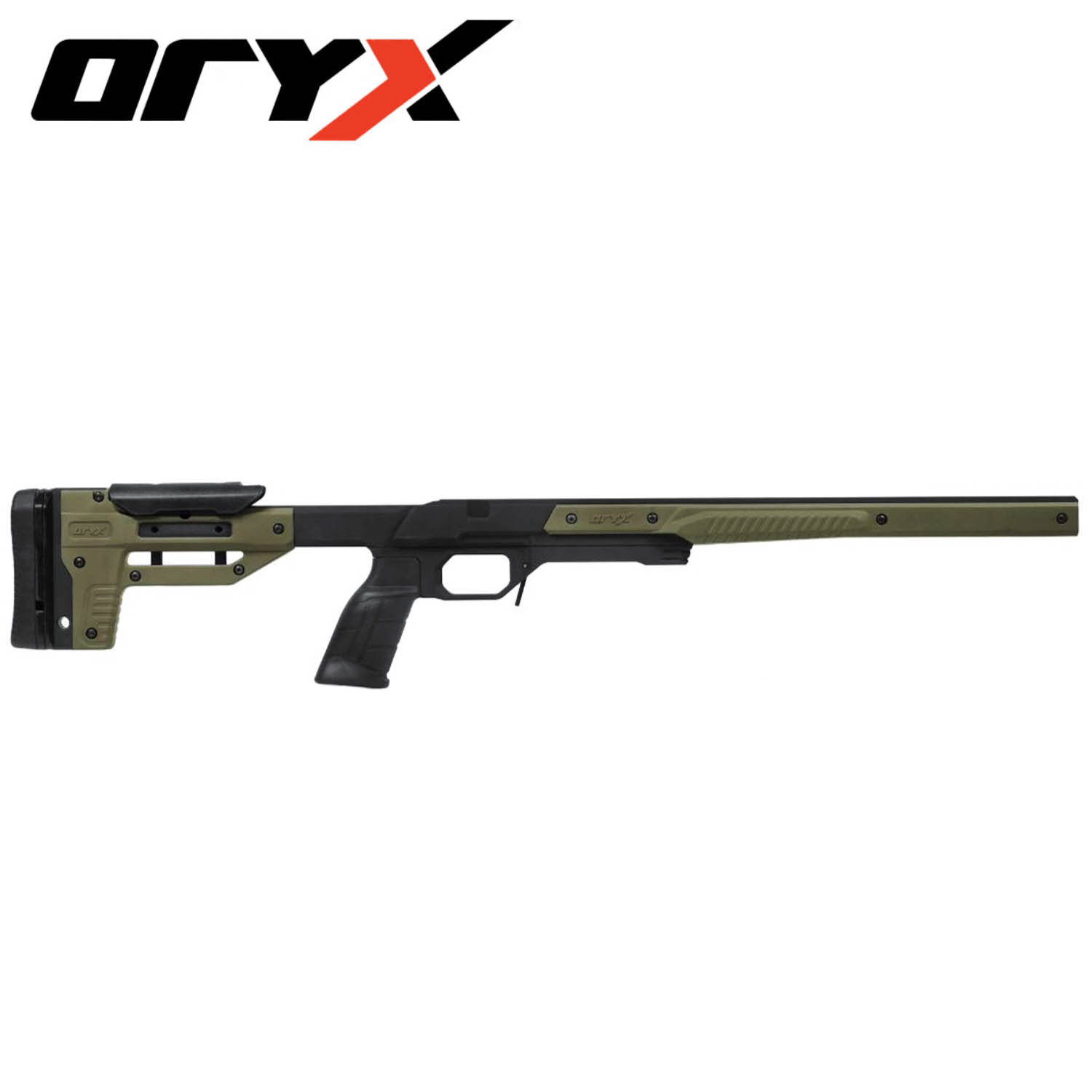 Oryx Rifle Chassis, Tikka T3 Short Action, Black / OD Green: Midwest Gun  Works