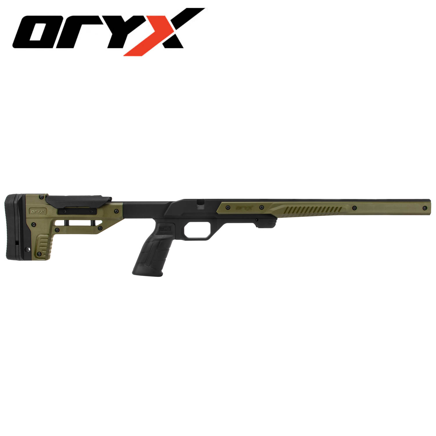 Oryx Rifle Chassis, Howa Mini Action, Black / OD Green: Midwest Gun Works