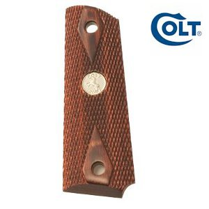 Colt 1911 Rosewood Grips with Nickel Medallion: Midwest Gun Works