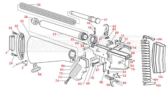 ar 15 lower parts kit diagram