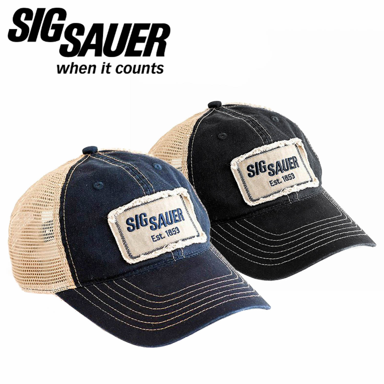 Sig Sauer Unstructured Trucker Hat with Patch: Midwest Gun Works