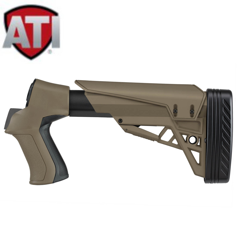 ATI T3 Adjustable TactLite Stock, Mossberg, Remington, Savage, Winchester,  FDE: Midwest Gun Works