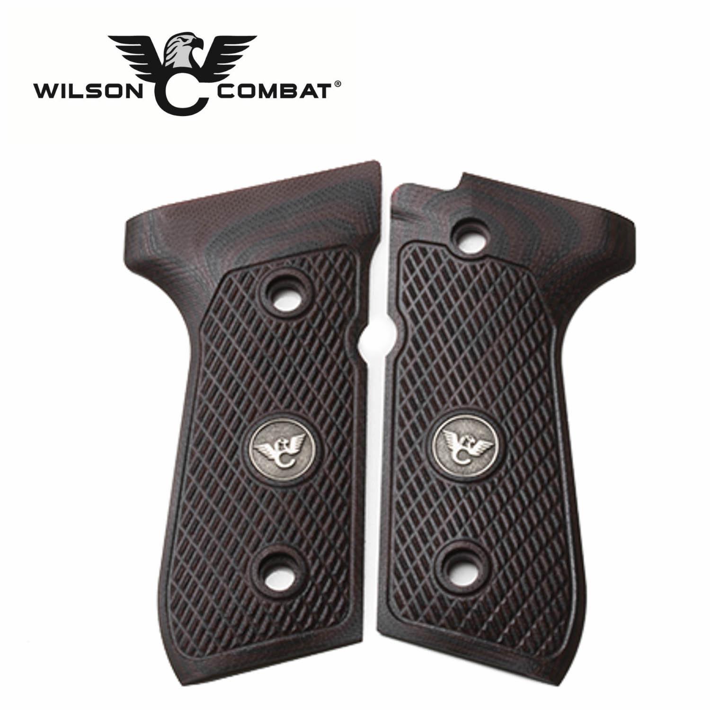 Wilson Combat, Beretta 92/96 Full Size, G10 Grips, Ultra Thin with WC Logo,  Black Cherry: Midwest Gun Works